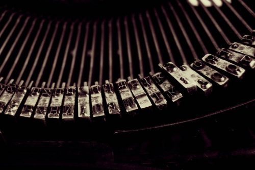 Extreme close-up of letters on a typewriter